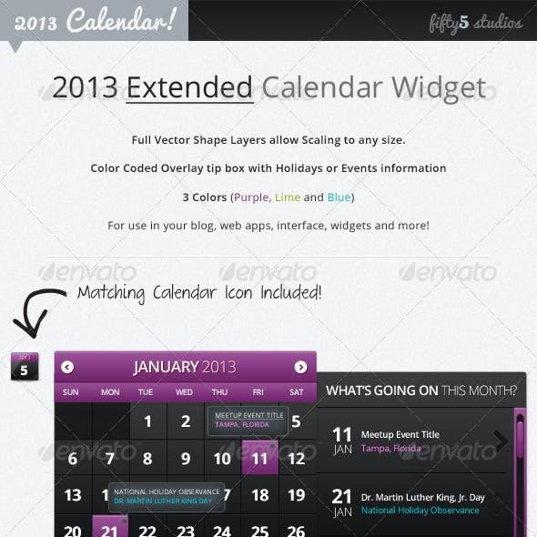2013 (Extended) Calendar Widget v2.0