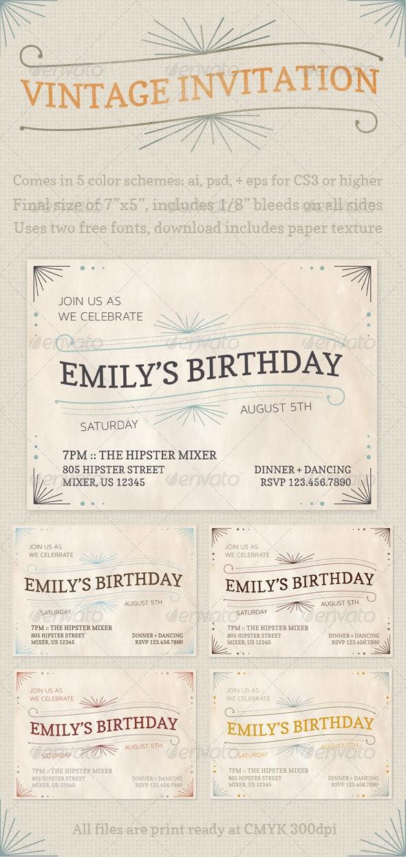 Vintage Invitations - Cards & Invites Print Templates