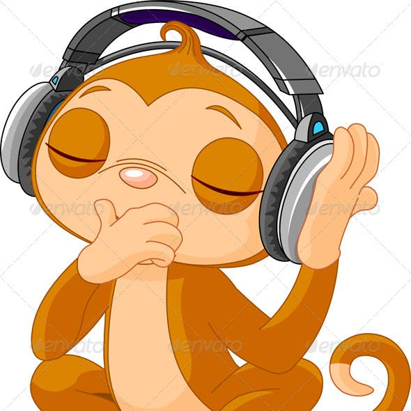 Cute little Monkey listening music