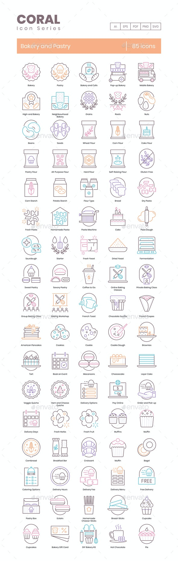 85 Bakery Icons   Coral Series - Icons