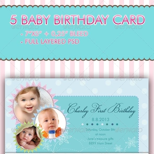 5 Baby Birthday Card