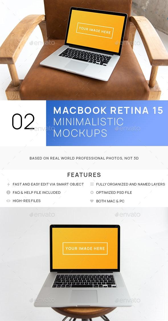 MacBook Pro Retina 15 Minimalistic Interior Hi-Res Mockup - Laptop Displays