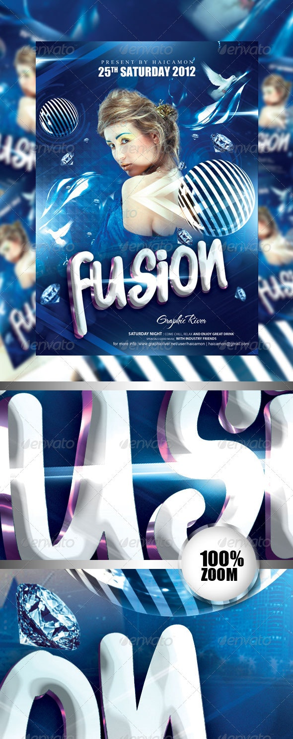 Fusion Night Party Flyer - Flyers Print Templates