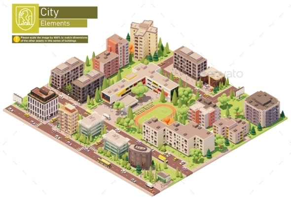 Vector Isometric City or Town Block with School - Buildings Objects