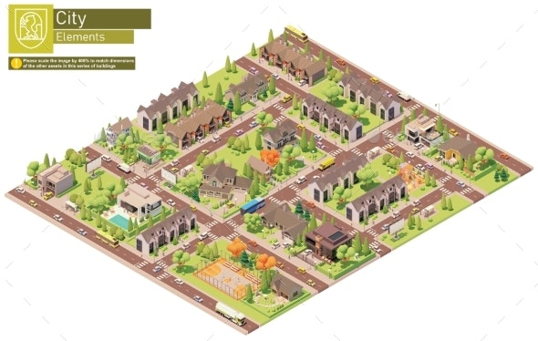 Vector Isometric City Suburban Area Block - Buildings Objects