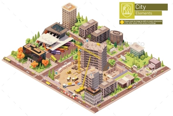 Vector Isometric City Block with Construction Site - Buildings Objects