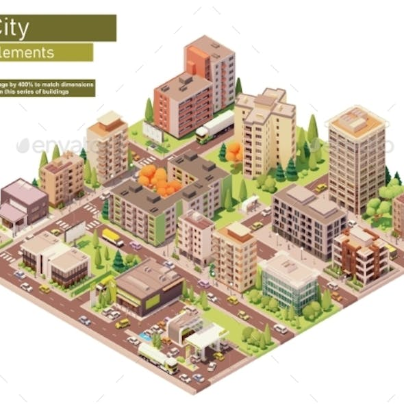 Vector Isometric City Block with Supermarket