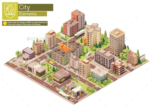 Vector Isometric City Block with Supermarket - Buildings Objects