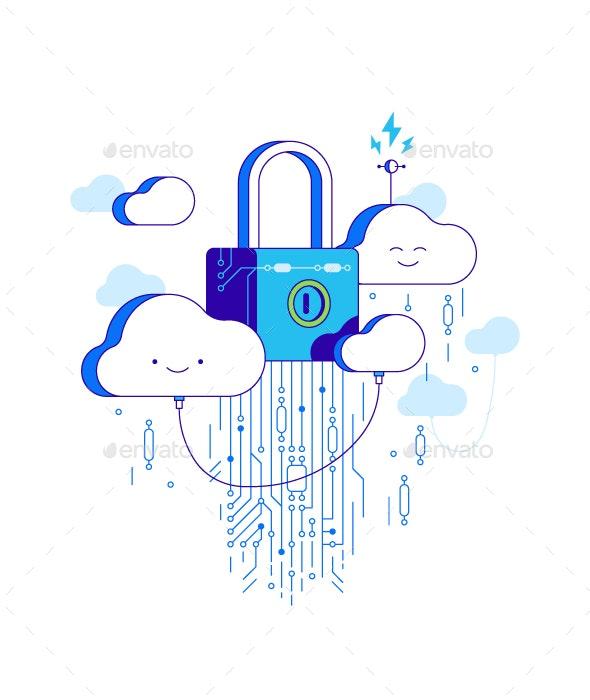 Security Cloud Storage Illustration - Communications Technology