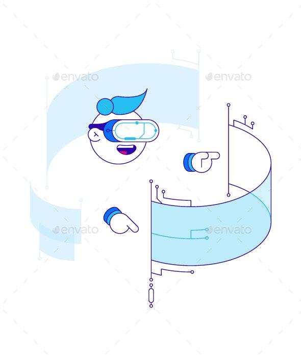 Virtual Reality (VR) Illustration - Communications Technology