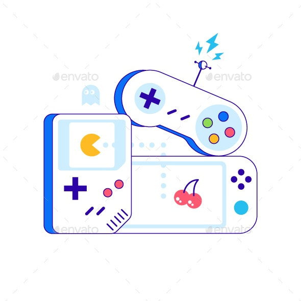Game Controllers Illustration - Computers Technology