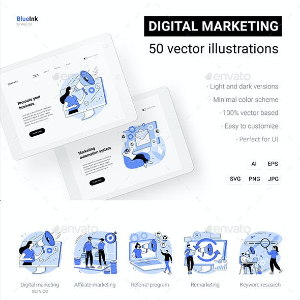 50 Digital Marketing Vector UI Illustrations Vol.2
