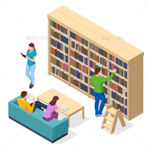 Isometric Bookshelves in the Library