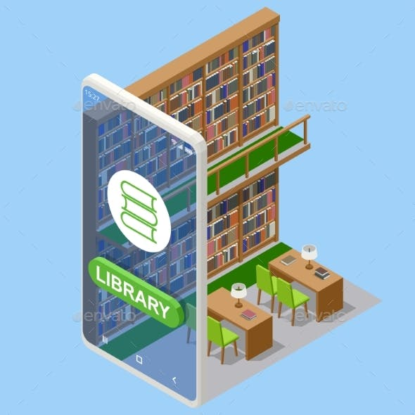 Isometric Online Library App for Reading