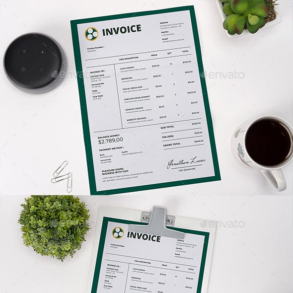 Green Invoice Template