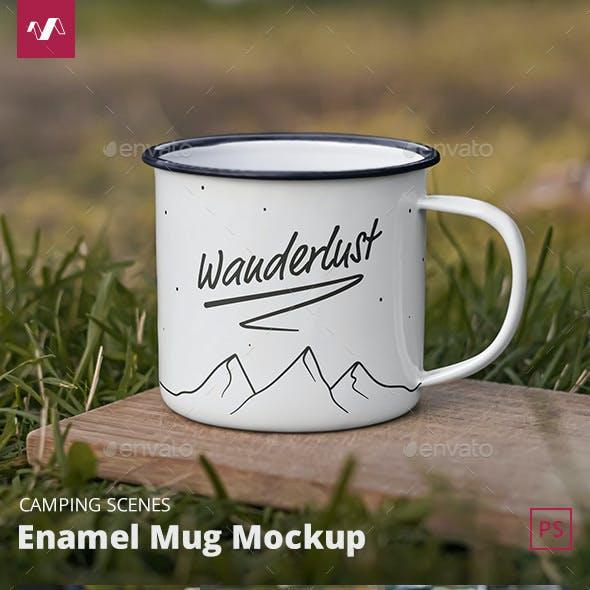 Enamel Mug Mockup Camping Scenes