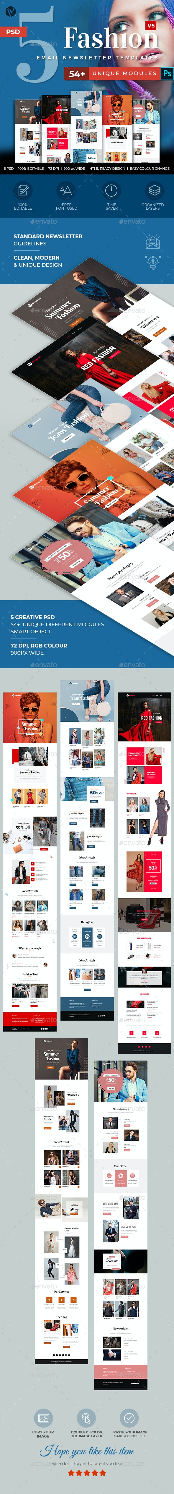 5 Fashion Email Newsletter PSD Templates v5 - E-newsletters Web Elements