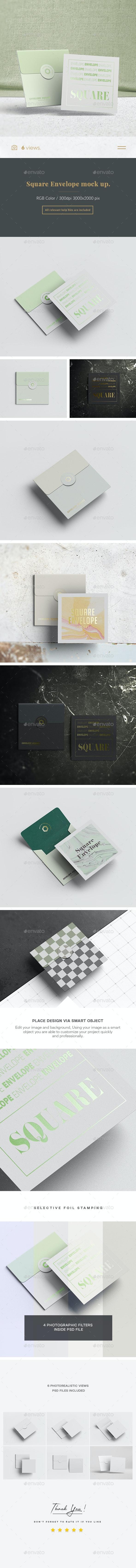 Square Envelope Mock-up - Product Mock-Ups Graphics