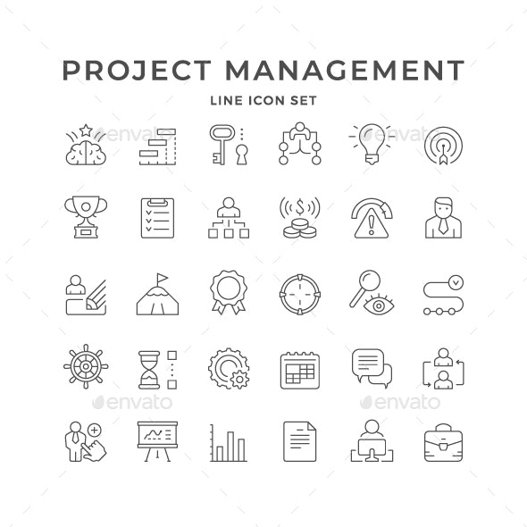 Set Line Icons of Projects Management - Man-made objects Objects
