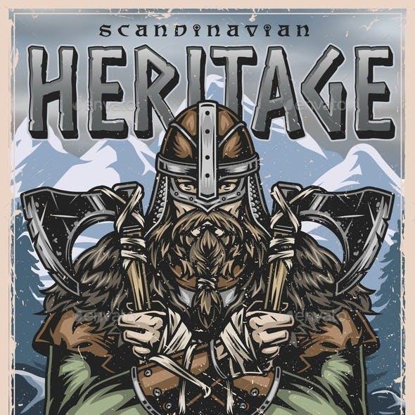 Viking Vintage Colorful Poster