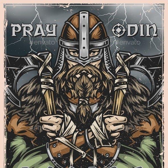 Viking Colorful Poster