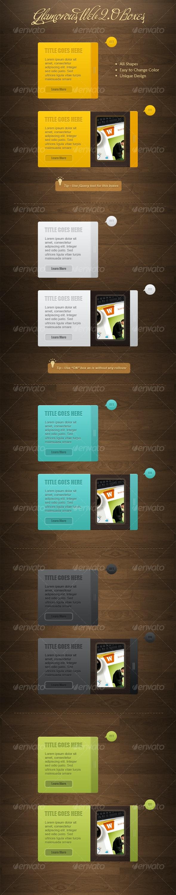 Glamorous Web 2.0 Boxes - Web Elements