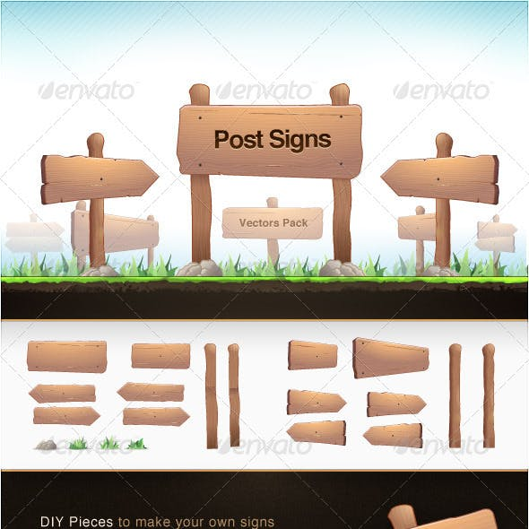 Post Signs Vector Pack