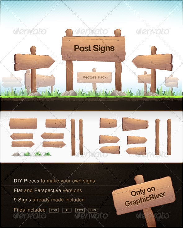 Post Signs Vector Pack - Man-made Objects Objects