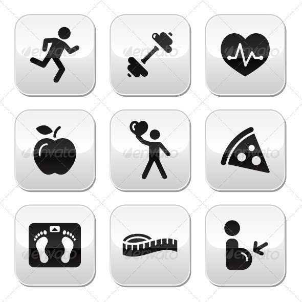 Keep fit and healthy icons on glossy buttons - People Characters