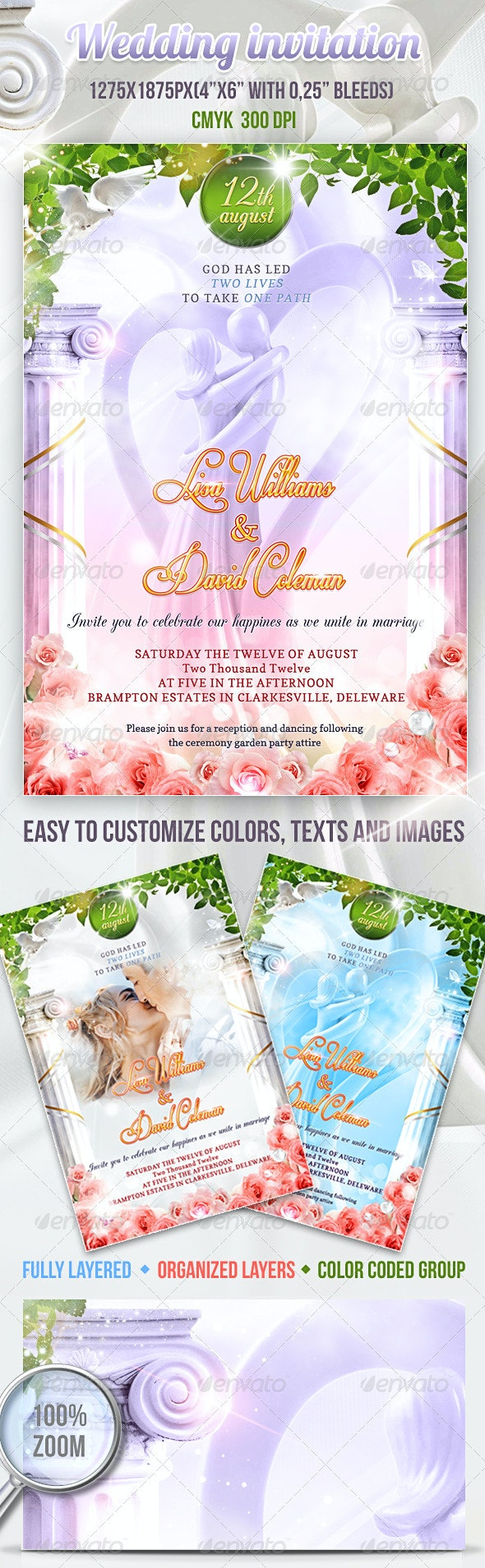 Wedding Invitation PSD Template - Events Flyers