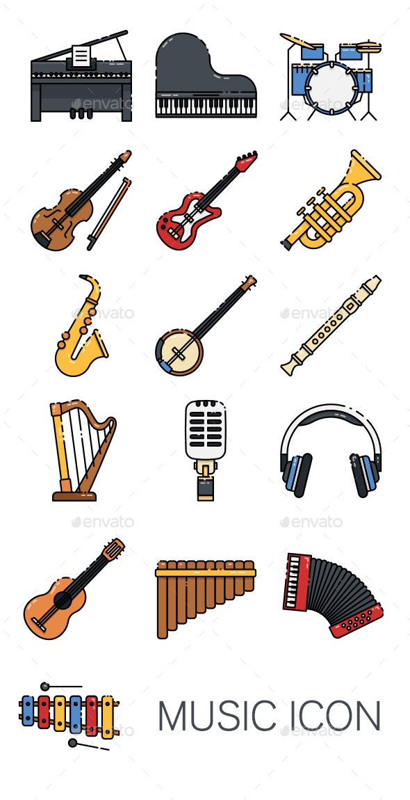 16 Music Instrument Icon - Man-made objects Objects