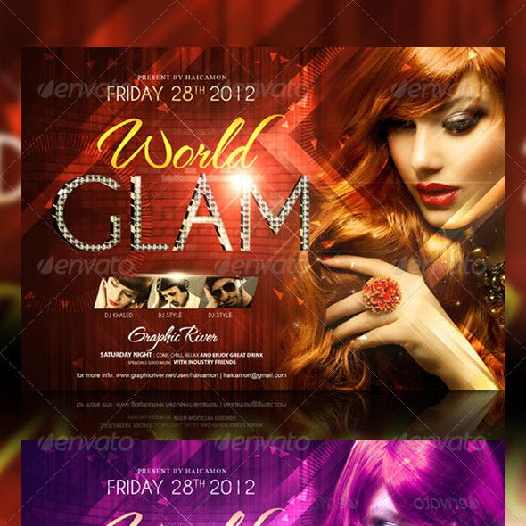 Glam World Party Flyer