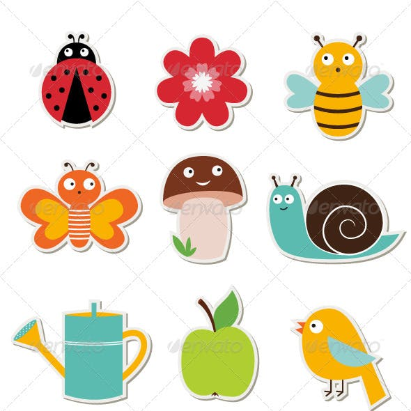 Summer garden vector stickers set