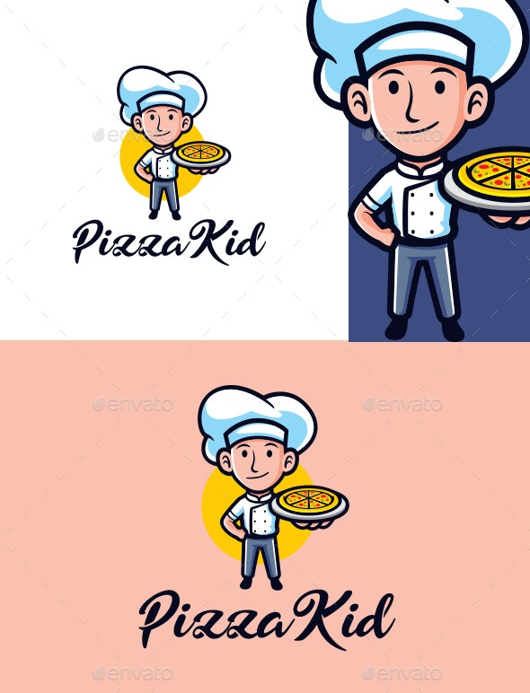 Cartoon Pizza Kid Character Mascot Logo - Food Logo Templates