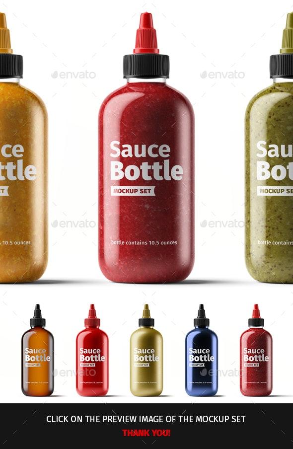 Sauce Bottle Mockup Set. 01 - Food and Drink Packaging