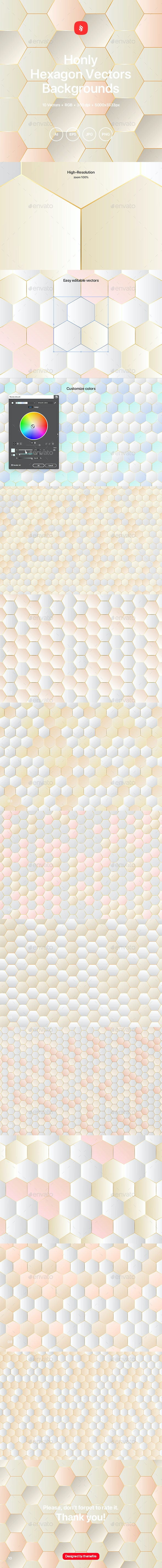Honly - Hexagon Vector Backgrounds - Patterns Backgrounds