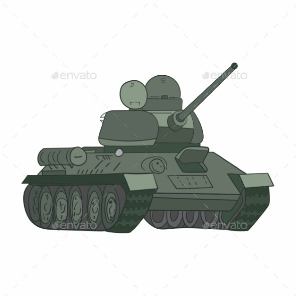 USSR Army Equipment Legendary T34 Tank Vector - Man-made Objects Objects