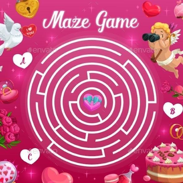 Kids Maze Game Valentines Day Vector Labyrinth