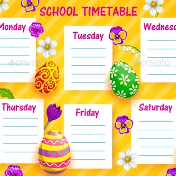School Timetable Vector Template with Easter Eggs