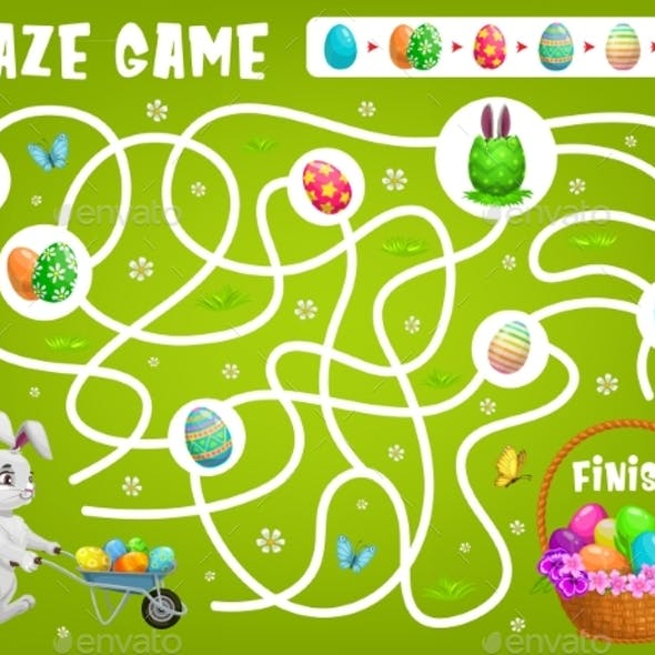 Kid Maze Game Help Easter Rabbit Choose Right Path
