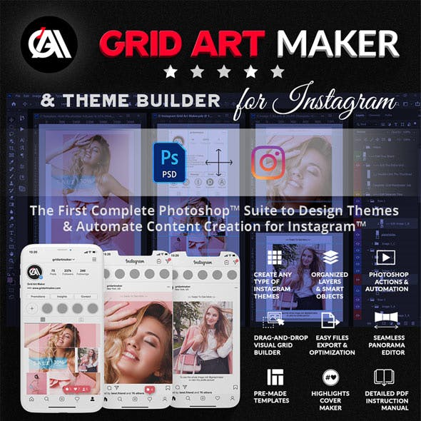 Instagram Grid Art Maker - All-In-One Photoshop Suite