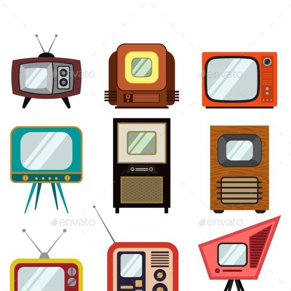 Television Vintage Vector Icon Set