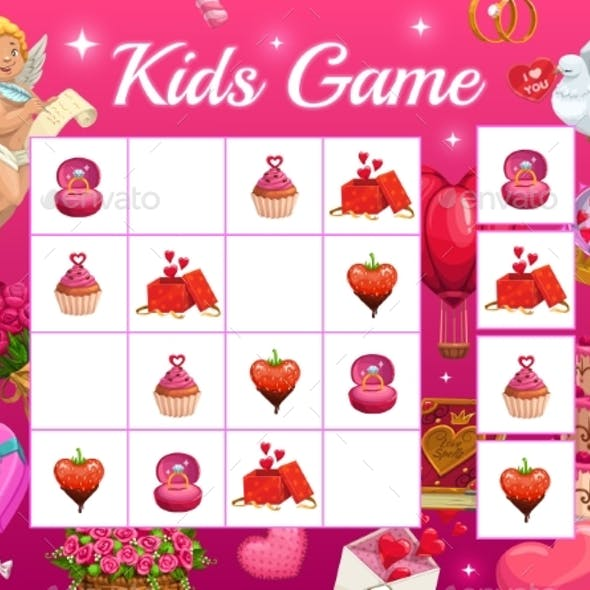 Kids Game Vector Riddle for Valentines with Cupid