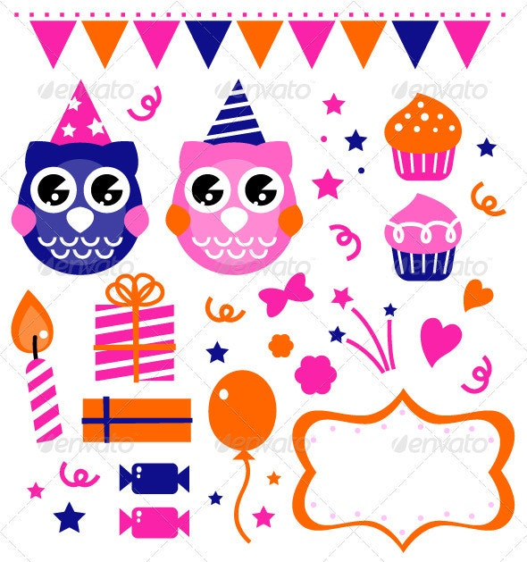 Owl birthday party design elements - Animals Characters