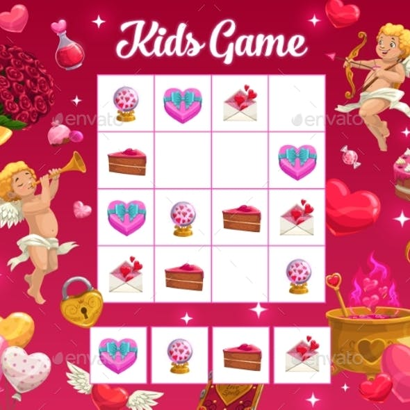Kids Game Vector Riddle Valentine Holiday Riddle