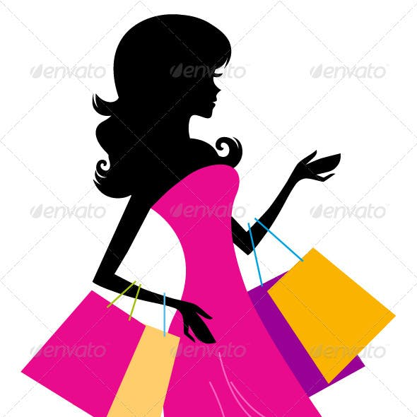 Woman shopping silhouette isolated on white