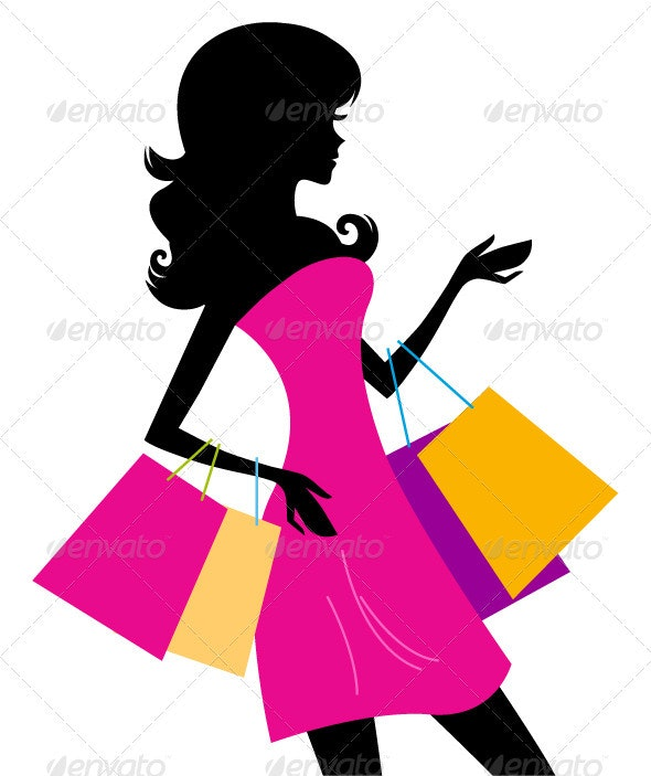Woman shopping silhouette isolated on white - Commercial / Shopping Conceptual