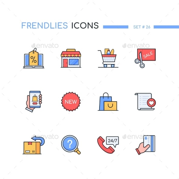 Shopping  Modern Line Design Style Icons Set - Retail Commercial / Shopping