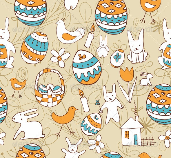 Easter Child Scribbles Seamless Background - Backgrounds Decorative