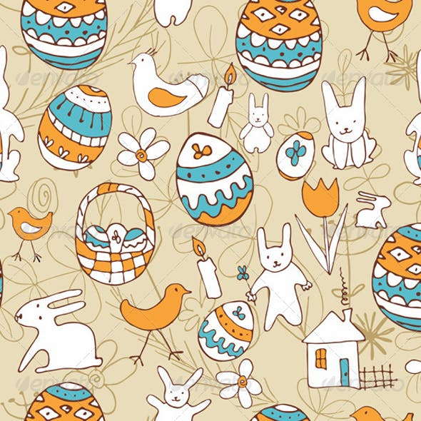 Easter Child Scribbles Seamless Background